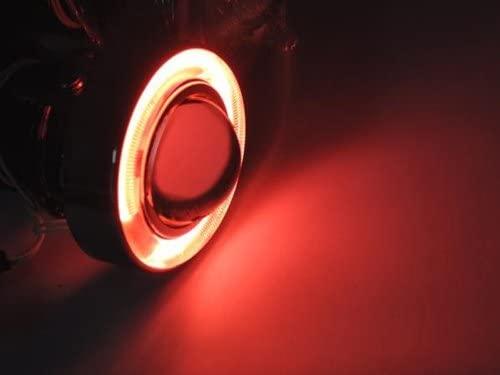 Sunny Car New Angel Eye Red CCFL+Universal Fit Fog Light/Fog Lamp Projector Lens Kit, H3 Halogen Bulb