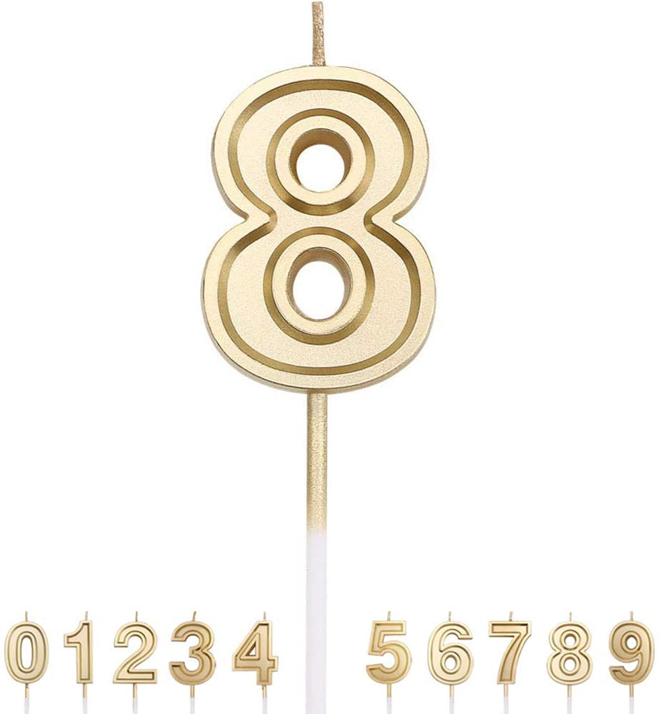 Gesentur Birthday Candle Numbers Gold Glitter Happy Birthday Numeral for Weddings, Reunions, Theme Party Perfect Baby's Pet's Birthday Cake Candle (Number 8)