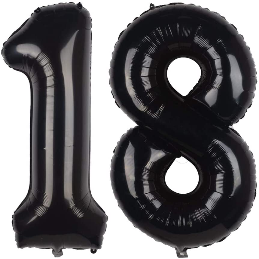 Tim&Lin 40 inch Black 18 Number Jumbo Foil Mylar Helium Balloons - Party Decoration Supplies Balloons - Great for 18th Birthday or 18th Any Anniversary Parties Events