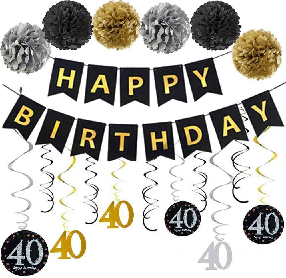 40th Birthday Party Decorations Pack, 40 Year Old Birthday Party Decorations Supplies Favors Gold Glitter Happy Birthday Banner Pompoms Hanging Swirl Women Men Birthday Gift Kit