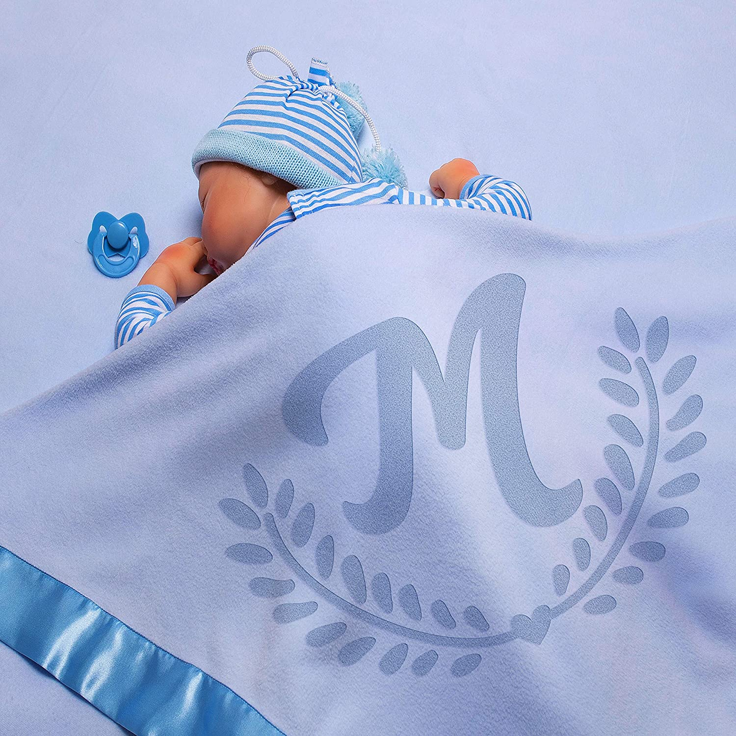 Personalized Baby Blankets w/Name - Large Baby Receiving Blanket - 36x36 in | Satin Trim, Fleece | Blue - Baby Boy Gifts, Baby Shower Gift, Baby Stuff, Welcome Baby Gifts for Newborns | Olive Branch