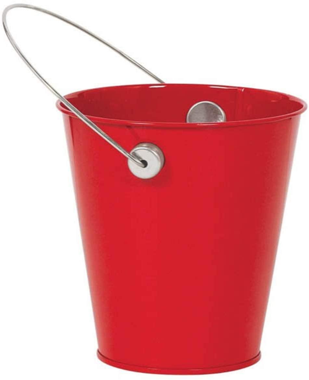 Amscan Metal Bucket w/handle | Apple Red | Party Accessory | 12 Ct, Multicolor