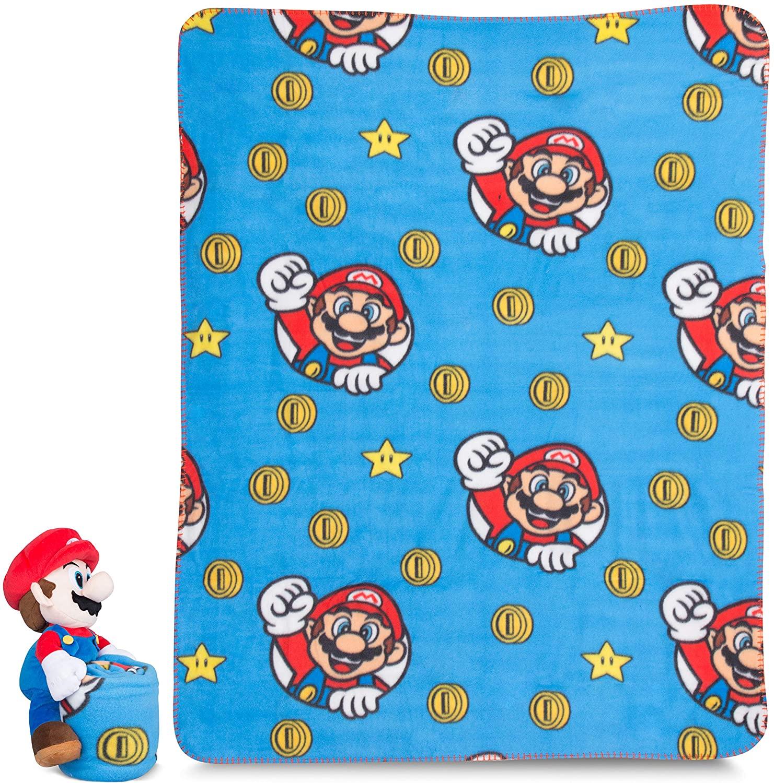 Franco Kids Bedding Soft Plush Throw and Hugger Pillow Set, 40 x 50, Super Mario