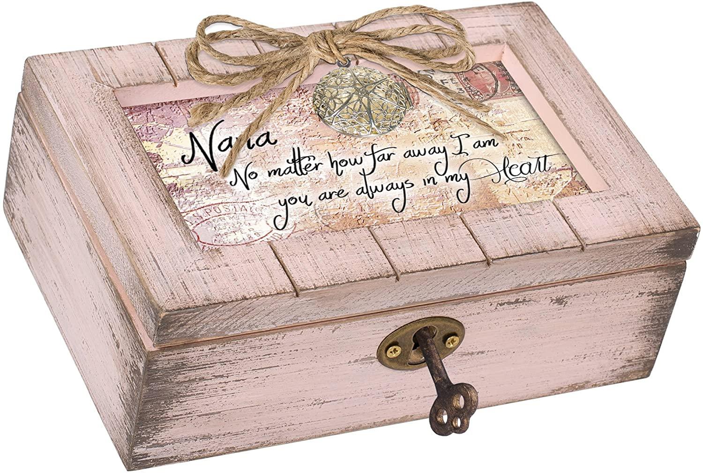 Cottage Garden Nana You are Always Heart Blush Pink Locket Petite Music Box Plays Light Up My Life