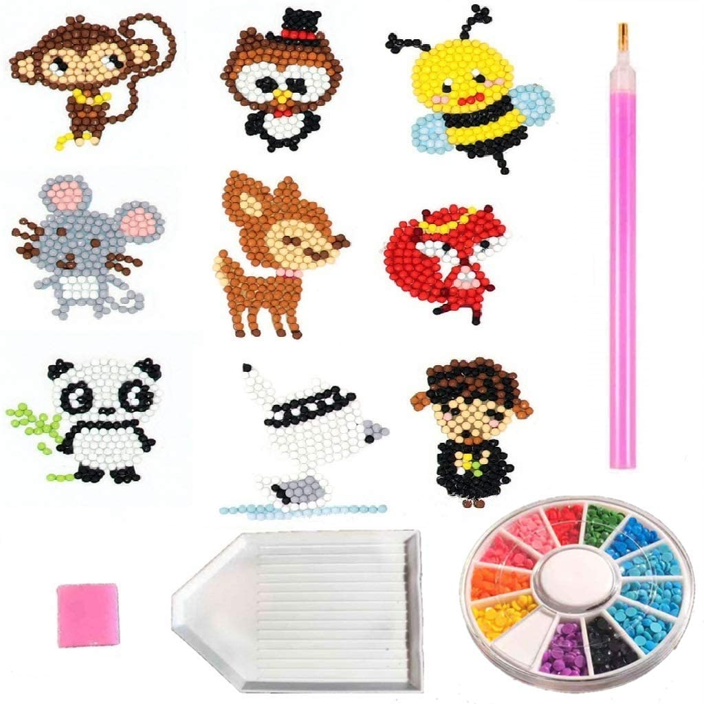 5D Diamond Painting Stickers Kits, CooCu Diamond Paint Kits for Kids with Tools and Crystal, Handmade Mosaic Crafts Kits, DIY Arts Crafts for Children and Beginner Adults (Animal Set - 9PCS)