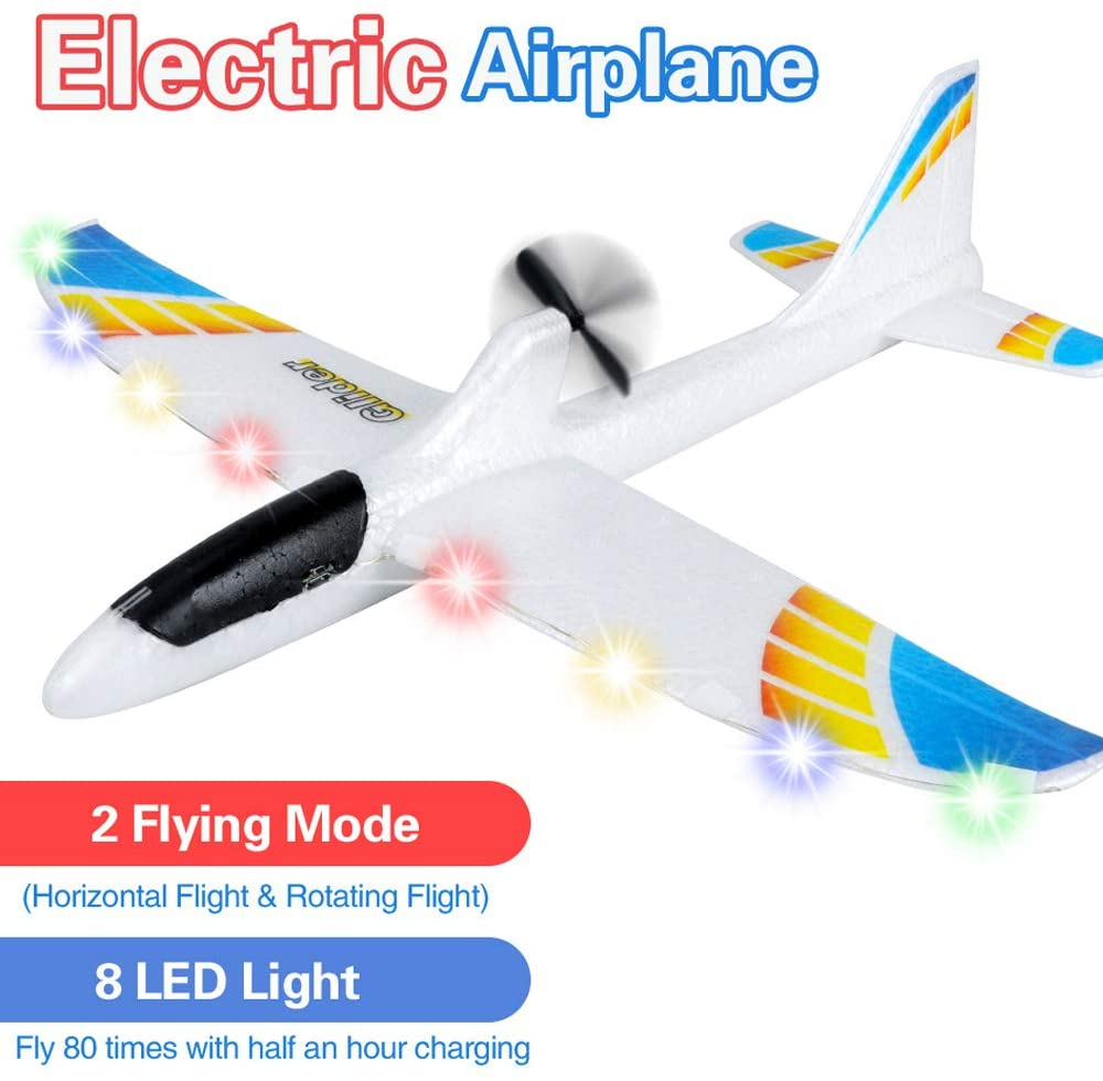 Electric Airplane Toys, Rechargeable 2 Flight Mode Throwing Plane, Outdoor Sport Toy, Foam Education Glider Aeroplane for boys Adults, Family Flying Game Toy,Styrofoam Airplanes,Gift for Kids Teens