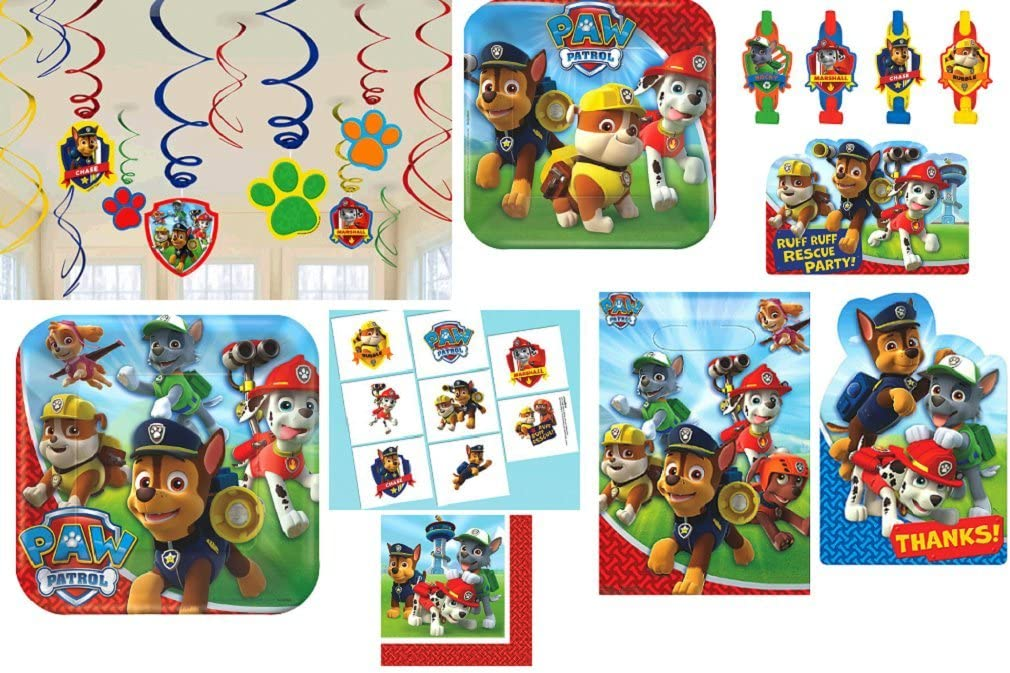 amscan Paw Patrol Birthday Party Pack! Bundle of Plates, Napkins, Invitations, Thank Yous, Loots Bags, Blowouts, Washable Tattoo Favors and Hanging Decorations