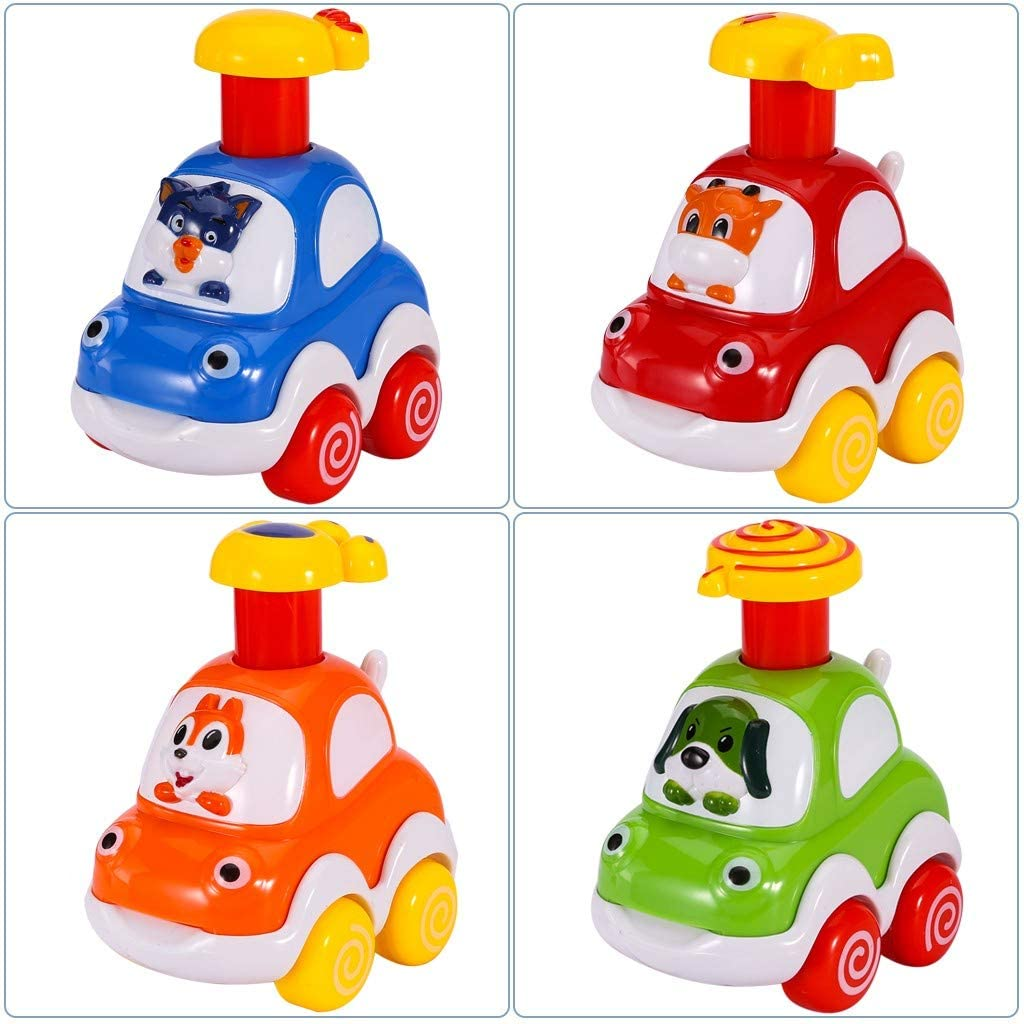 Kids Pull Back Cars Toys | 4 Pcs Cartoon Animal Push and Pull Car for Baby Construction Team Vehicles Set Toy Helicopter for Birthday Gifts (from US, Multicolour)