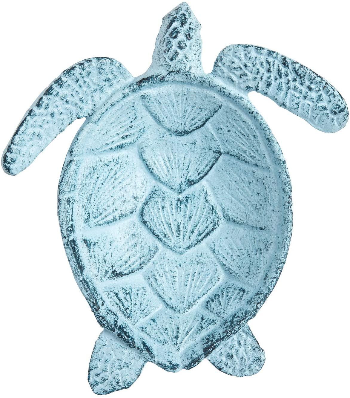 Beachcombers B21435 9 inches Metal Powder Blue Sea Turtle Figurine