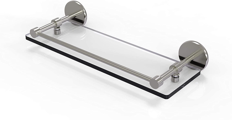 Allied Brass P1000-1/16-GAL-SN 16 Inch Tempered Gallery Rail Glass Shelf, Satin Nickel