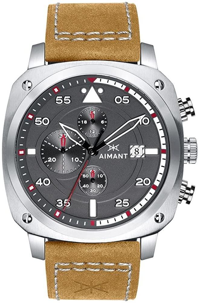 AIMANT Dakar Cronograph Watches | 45 MM Men's Analog Watch | Leather