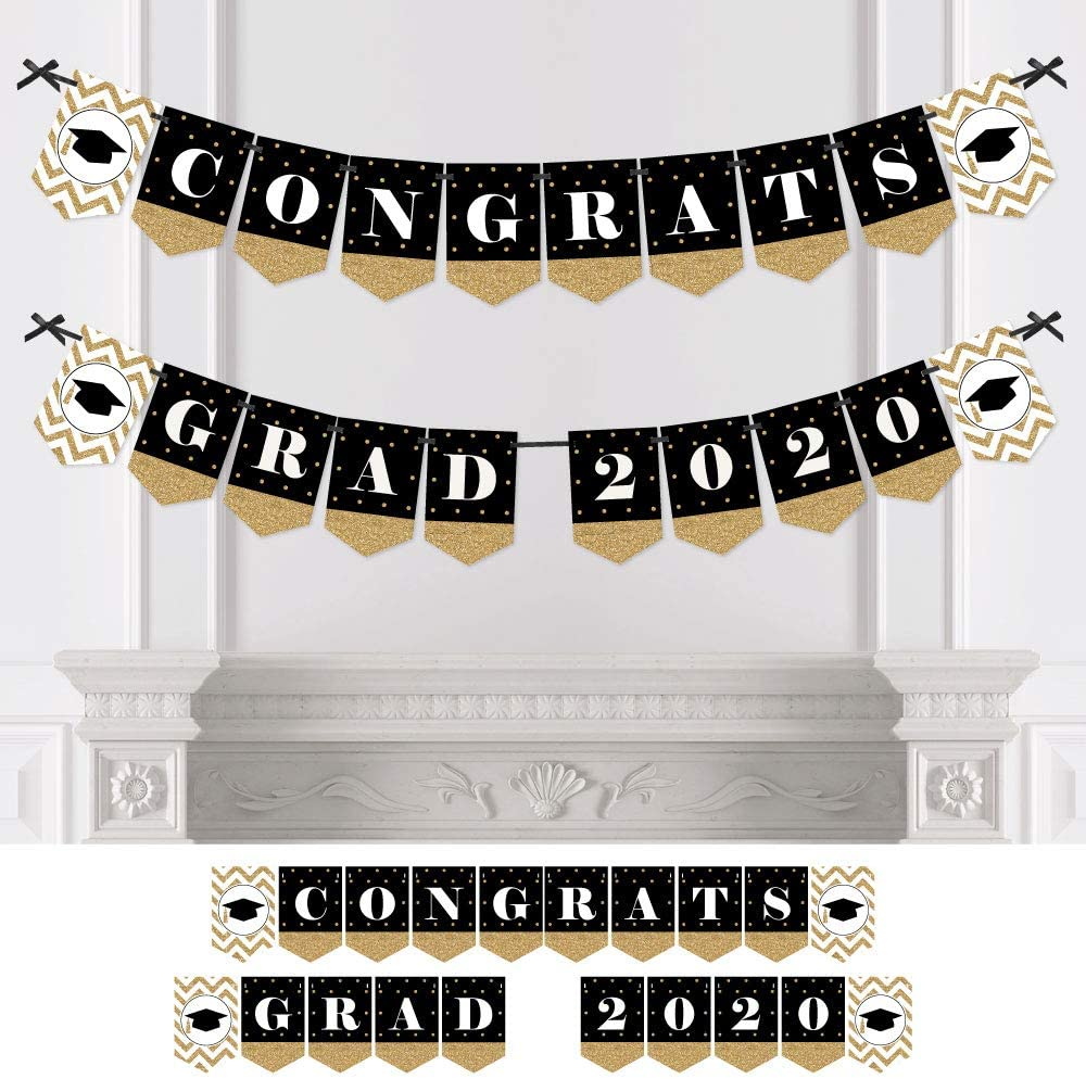 Big Dot of Happiness Gold Tassel Worth The Hassle - 2020 Graduation Party Bunting Banner - Gold Party Decorations - Congrats Grad 2020