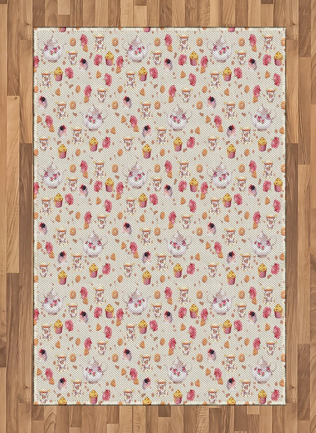 Ambesonne Vintage Area Rug, Vintage Retro Antique Tea Cups and Teapots Art Pattern Image, Flat Woven Accent Rug for Living Room Bedroom Dining Room, 4' X 5.7', Pale Pink Dark Coral and White