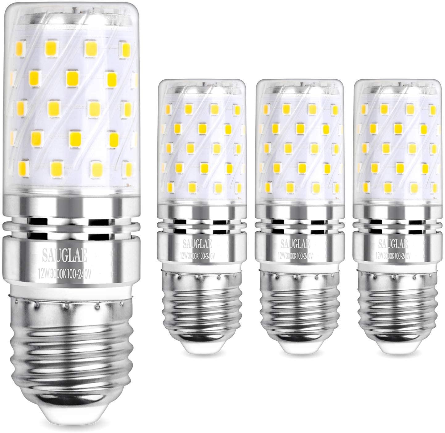 Sagel E26 LED Corn Bulbs 12W, 100W Incandescent Bulbs Equivalent, 3000K Warm White, Non-Dimmable, 1200Lm, Edison Screw Corn Light Bulbs, 4-Pack
