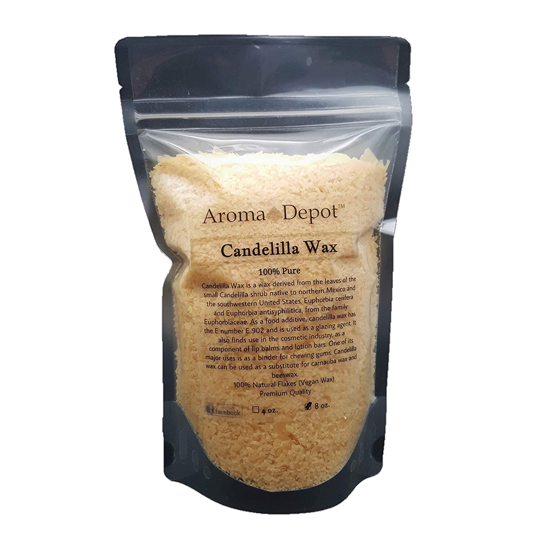 8 oz Candelilla Wax 100% Pure and Natural Small Flakes DIY Lip Balms and Lotion Bars (Vegan Wax) Alternative to Beeswax