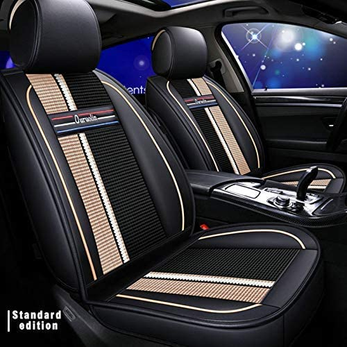 Upgraded Leather Car Seat Covers Set for Lexus GS350 Breathable and Anti-Slip All-Season Seat Protector Fit 2 Front Row Black beige