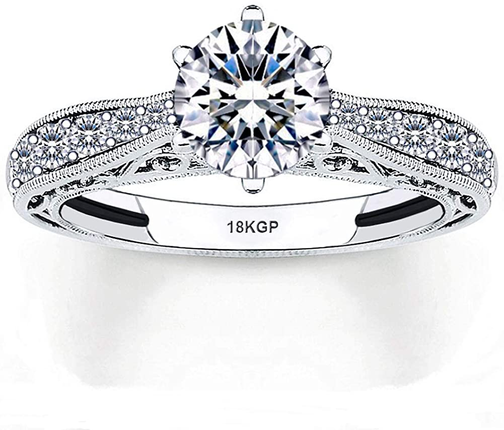 Wedding Ring Engagement White Gold Plated 18K Sterling Silver 925 Cubic Zirconia Stones Round Cut AAAAA+ Alternative to Diamonds 0.75 Carat Anniversary Valentines Promise Marriage Bridal