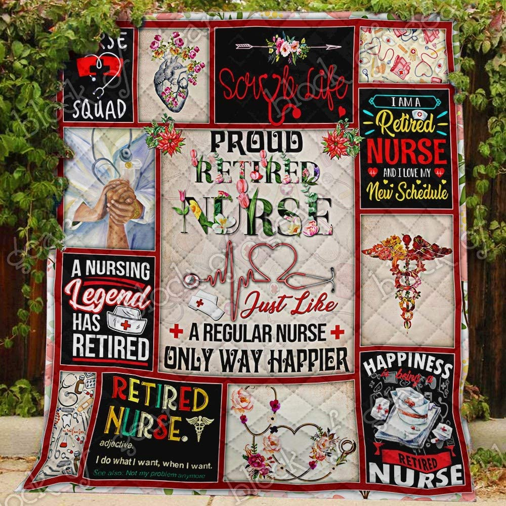Retired Nurse Quilt PN504, Twin King/Queen/Twin Size Quilts-Soft Microfiber Lightweight Coverlet for All Season Usage - Pattern/Modern Bedding Quilts Gift