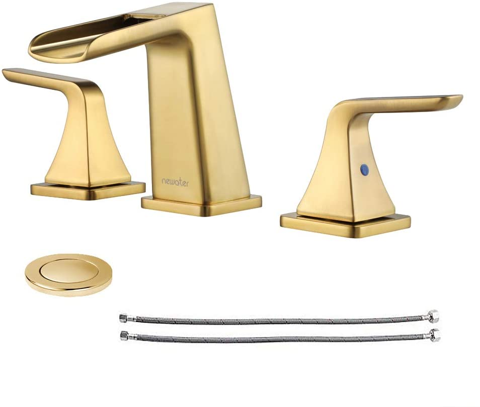 NEWATER Waterfall 8-Inch Widespread Two-Handle Bathroom Sink Faucet Three Hole Lavatory Faucet with Metal Pop-up Drain Assembly & Supply Lines,Brushed Gold