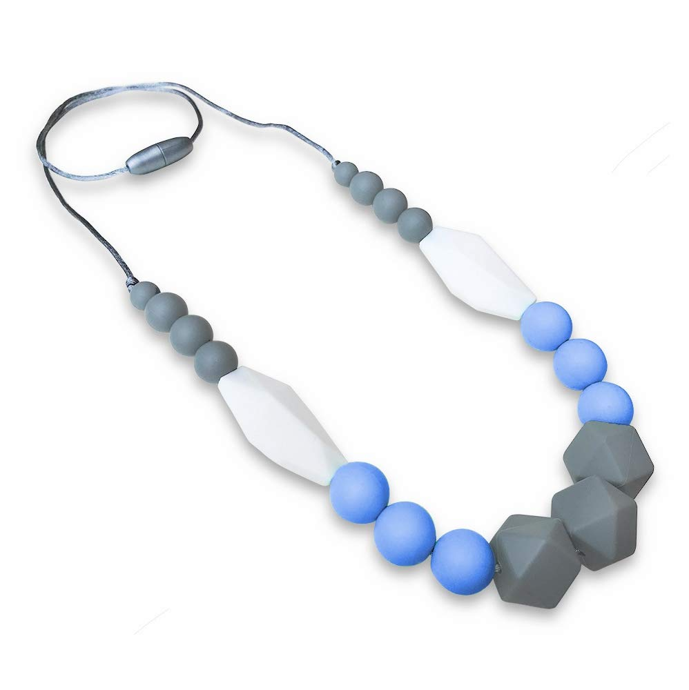 REIGNDROP Baby Teething Necklace for Mom, Silicone Teether Necklace for Teething Pain Relief in Babies and Toddlers, Light Weight, Stylish Chewable Necklace for Boys and Girls (Grey/Blue/White)