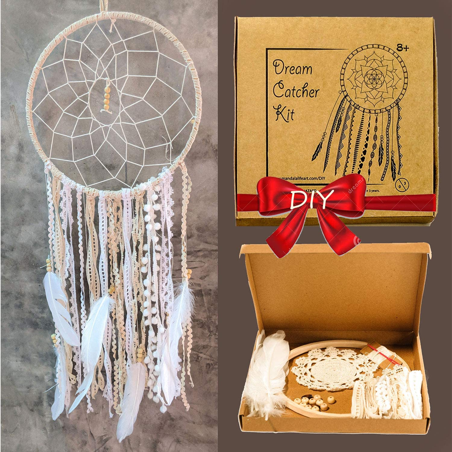 Mandala Life ART DIY Dream Catcher Kit 12x30 inches - Make Your Own Bohemian Wall Hanging with All-Natural Materials - Creative Activity Set Includes Premium Lace, Yarn, Feathers and Wooden Hoop