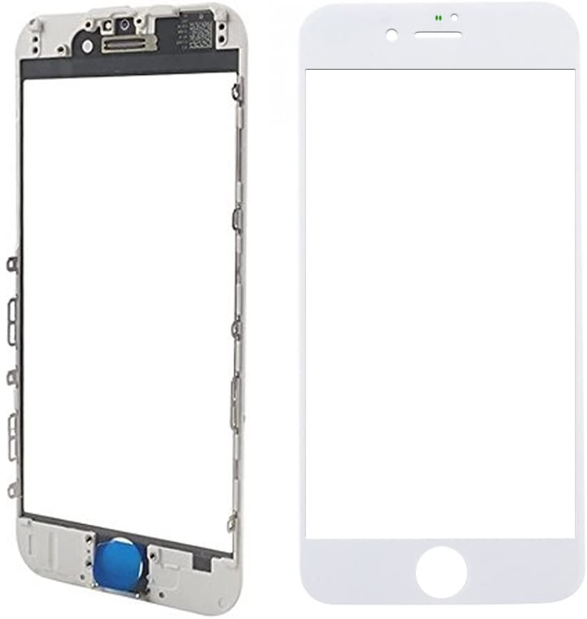 MMOBIEL Front Glass Replacement Compatible with iPhone 8 (White) incl. Pre-Installed Bezel Frame and Earpiece Mesh