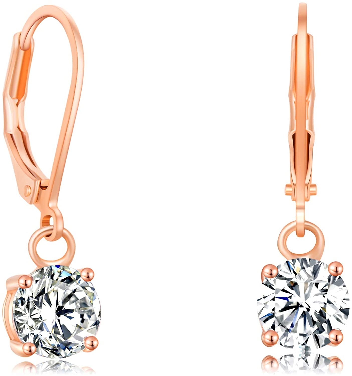 Buyless Fashion Girls And Women Long Dangle Earrings - Rose Gold with CZ Fashion Jewelry