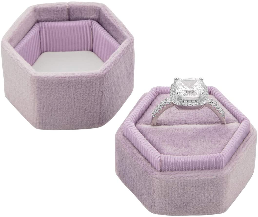 Koyal Wholesale Velvet Ring Box, Hexagon Vintage Wedding Ceremony Ring Box with Detachable Lid, 2 Piece Engagement Ring Box Holder, Modern Proposal Idea (Lilac)
