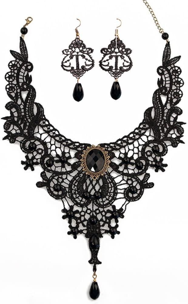 JoyTong Black Lace Necklace Earrings Set, Lace Pendant Choker and Eardrop