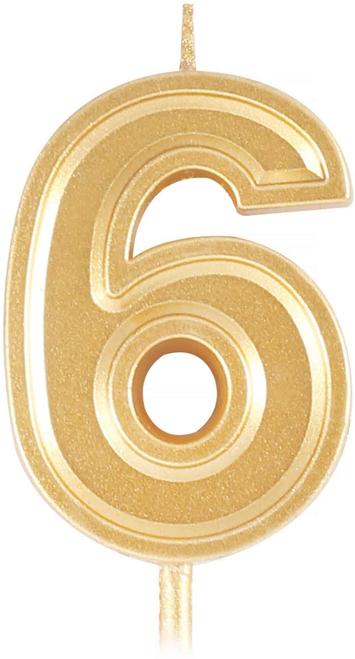 Birthday Cake Candle Number 6, Golden Glitter Numeral Topper Decoration for Wedding Anniversary, Kids and Adults Party Celebration (6)