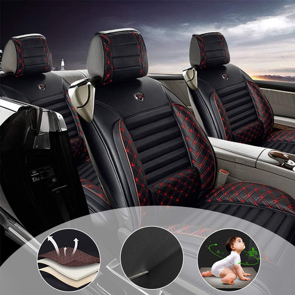 changlaiwang All Weather Custom Fit Seat Covers for Jeep Cherokee Renegade 5-Seat Compatible with Airbags Car Seat Covers Ultra Breathable with Lumbar Cushion Black red Full Set