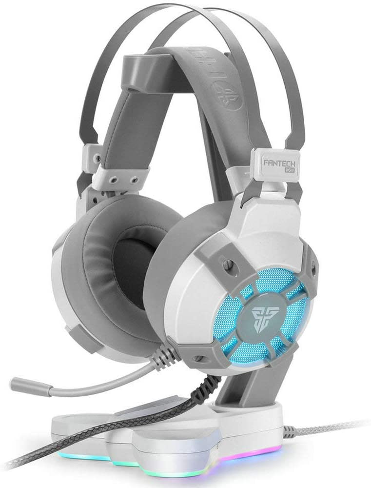 Fantech USB RGB Gaming Headset and Stand Combo for PC, 7.1 Surround Sound 50mm Drive DTS Digital Over Ear Wired Headphones with Mic and Hanger, White
