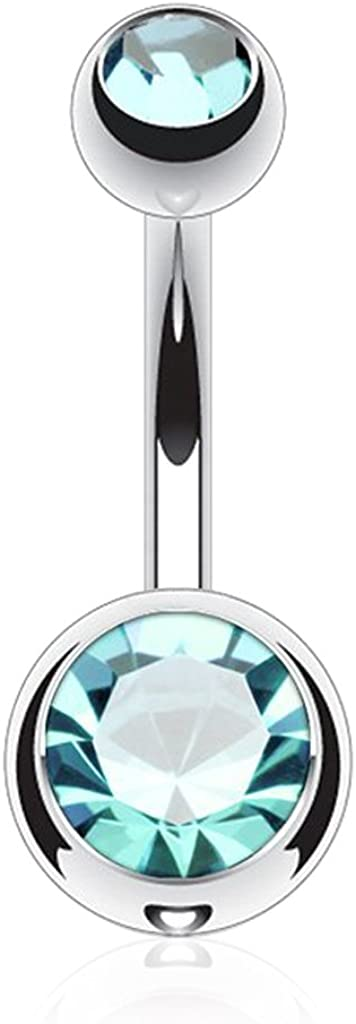 FIFTH CUE 14G G23 Solid Titanium Double Gem Ball Naval Belly Button Ring