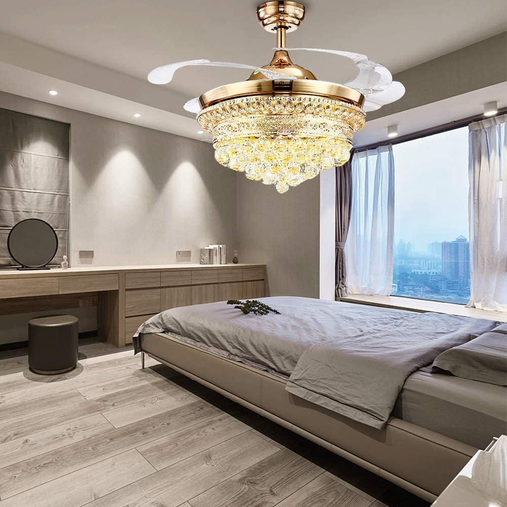 Crystal Ceiling Fan 42 Inch Mute Crystal Light Fixtures Ceiling Fan Remote Control Ceiling Fan Light With 4 Clear Retractable Blades Bedroom Living Room Invisible LED Chandelier Fan