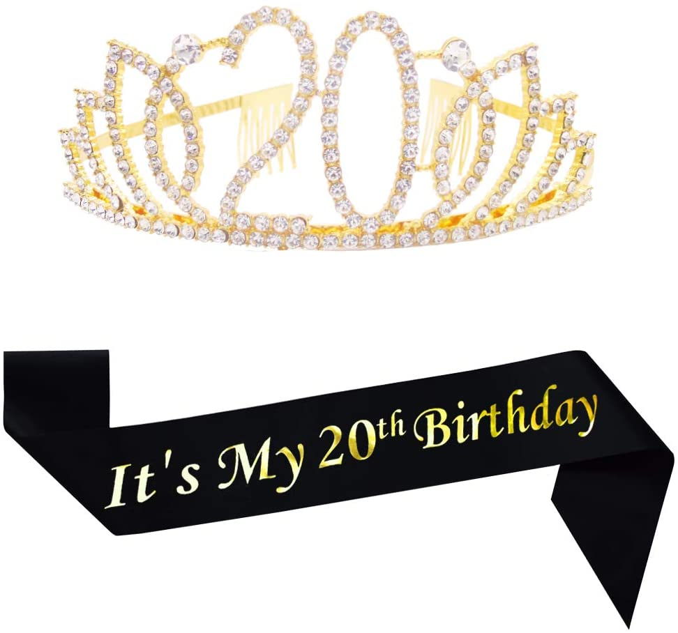 20th Gold Birthday Tiara and Black Sash Glitter Satin Sash and Crystal Rhinestone Tiara Crown for Happy 20th Birthday Party Supplies Favors Decorations 20th Birthday Party Accessories