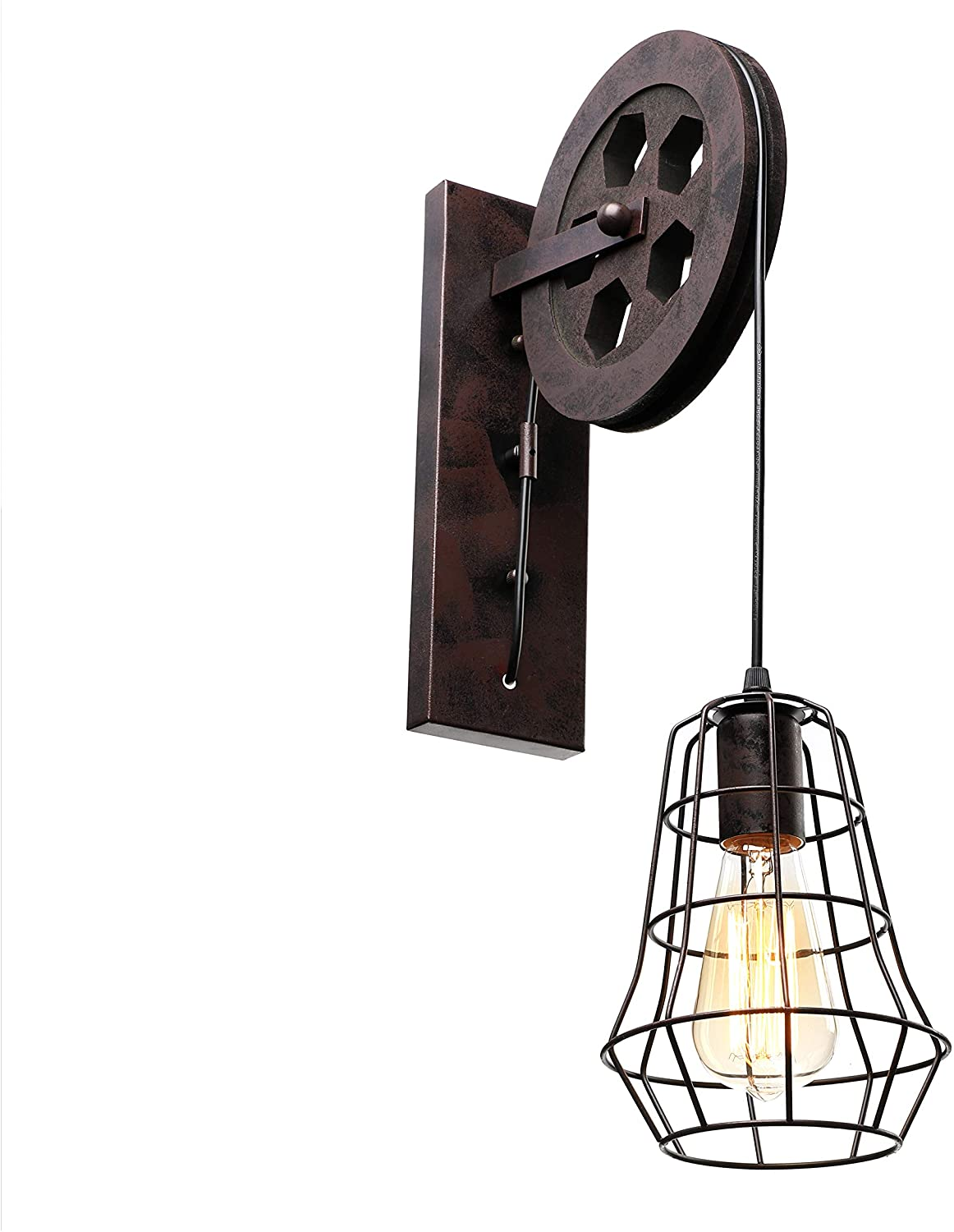 BAYCHEER Personality Edison Lights Lift Pulley Design Vintage Wall Light Industrial Creative 1 Light Indoor Wall Sconce Lighting for Barn Restaurant, Hallway, Living Room, Dining Room