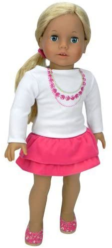 18 Inch Doll Clothing 2 Pc. Set of Stylish Top and Ruffled Skirt Fits American Girl & More! 18 Inch White Long Sleeve Necklace Tee with Hot Pink Tiered Skirt
