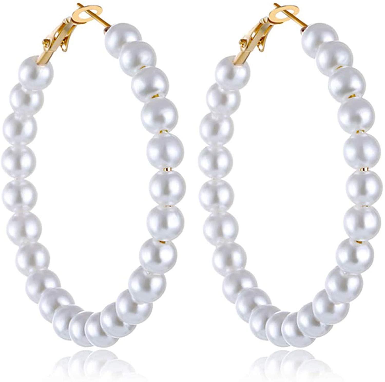 Pearl Hoop Earrings for Women Fashion Dangle Hypoallergenic Earrings Drop Dangle Earrings Gifts for Women