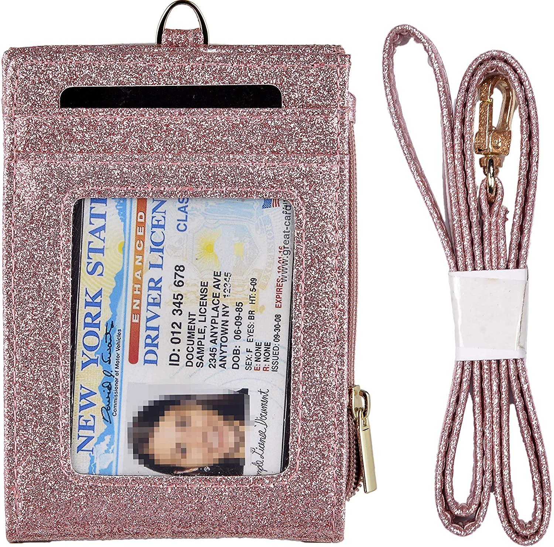 Beurlike Bifold ID Badge Holder Case Leather Credit Card Wallet Neck Lanyard (Star Rosegold)