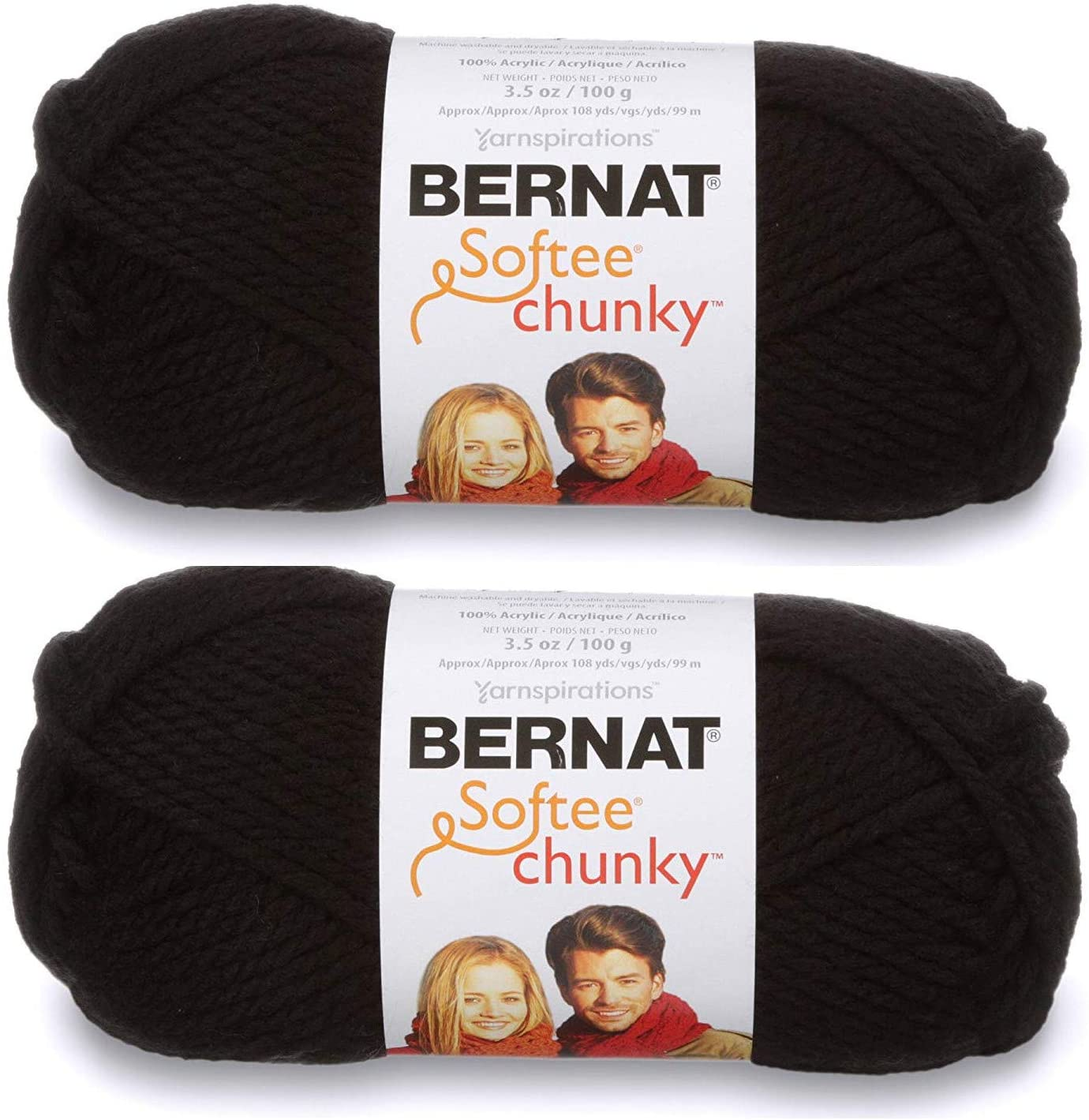 2-Pack - Bernat Softee Chunky Yarn, Black, Single Ball