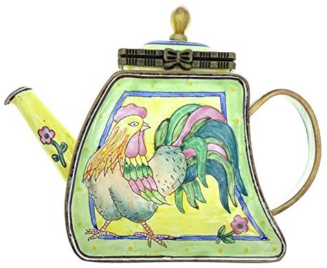 Kelvin Chen Rooster Enameled Miniature Teapot with Hinged Lid, 4.25 Inches Long
