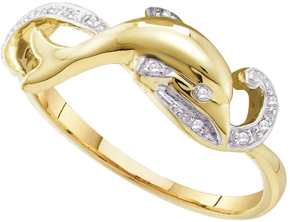 Dazzlingrock Collection 10kt Yellow Gold Womens Round Diamond Slender Dolphin Fish Animal Ring 1/20 ctw
