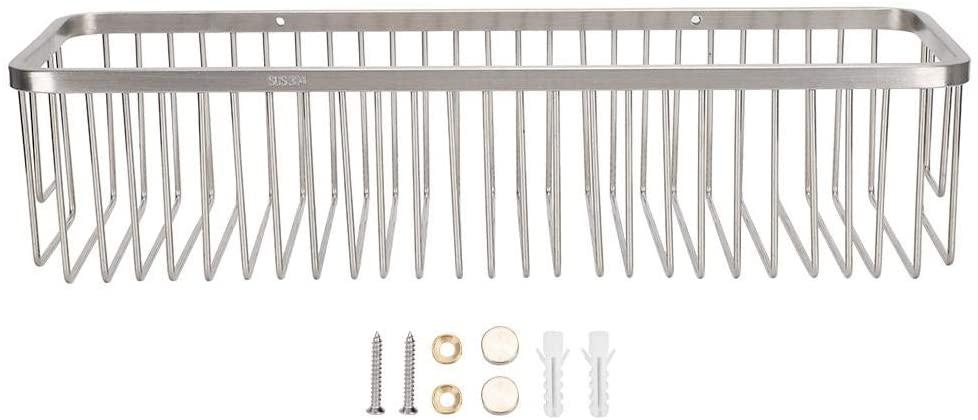 Liineparalle Brushed Storage Organizer Basket No Drilling Stainless Steel Adhesive Shower Shelf Storage Kitchen Rack for Bathroom