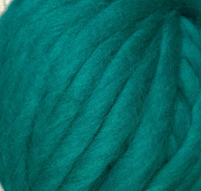 Merino Wool Super Chunky Yarn- Bulky Roving Yarn for Finger Knitting,Crocheting Felting,Making Rugs Blanket and Crafts by FLORAKNIT (Seagreen, Medium-20mm 0.55LB)