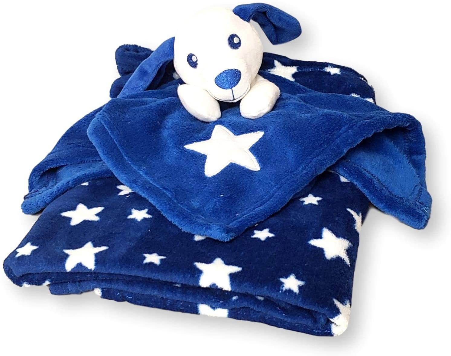SONA G DESIGNS Plush Animal Security Lovey with Blanket Gift Set for Newborn Infant - Custom Personalized Available (Blue & White Puppy Dog)