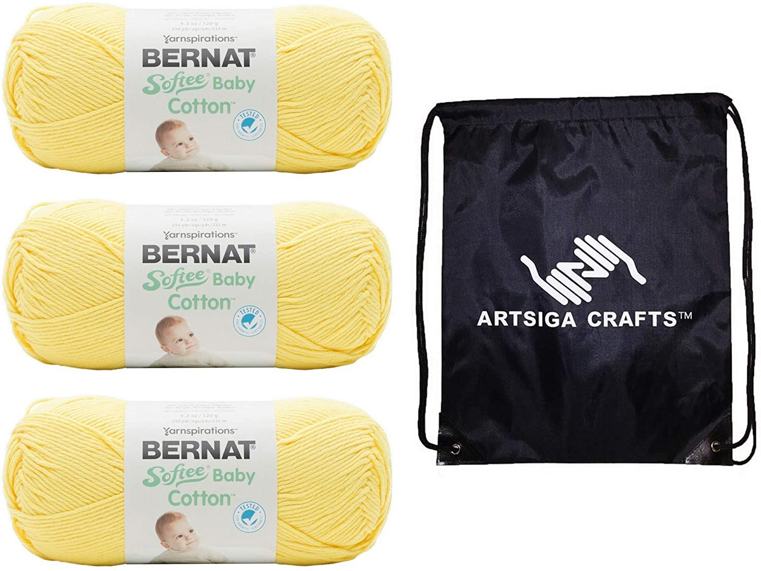 Bernat Knitting Yarn Softee Baby Cotton Duckling 3-Skein Factory Pack (Same Dyelot) 166052-52007 Bundle with 1 Artsiga Crafts Project Bag