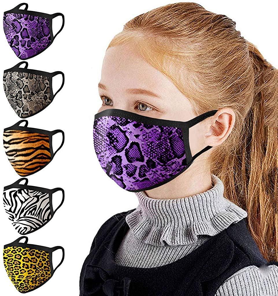 Weginte 5PCS Kids Washable Reusable Face+Bandanas Children Student Breathable School Outdoor Activities Vortex/Leopard/Zebra