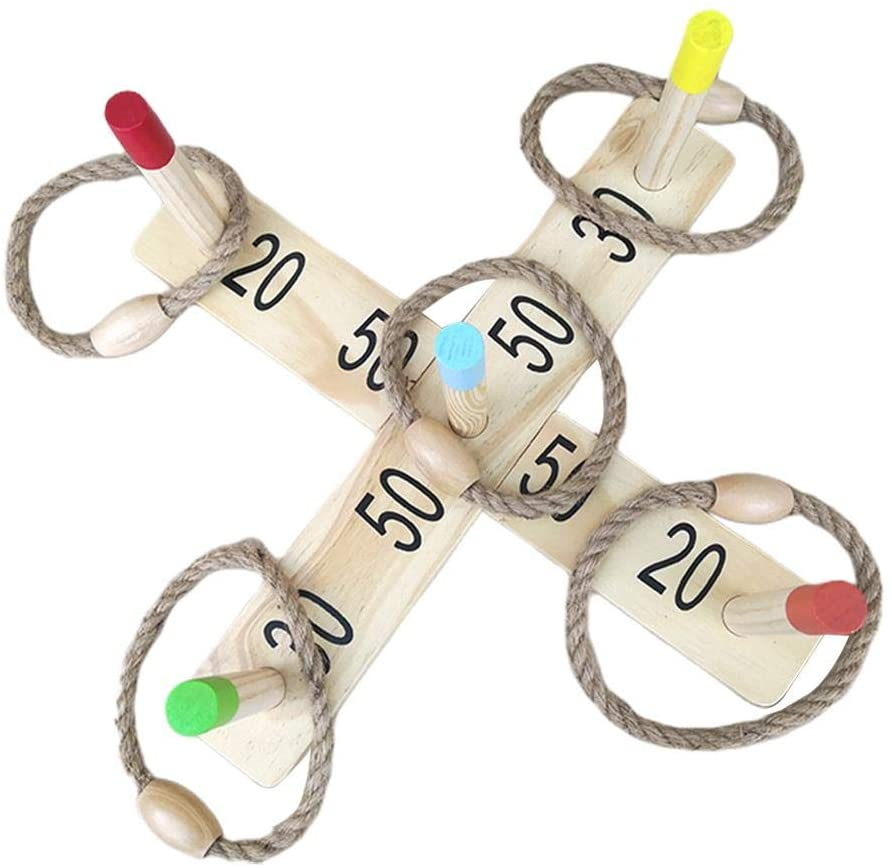 Ring Toss Game,Outdoor Throwing Game,Family Pegs and Rope Game for Kids and Adults.