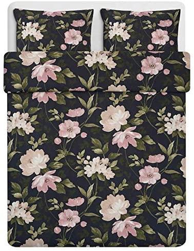 IKEA Blekfryle Duvet Cover and 2 Pillowcases Black Flower Full/Queen (Double/Queen) 804.606.96