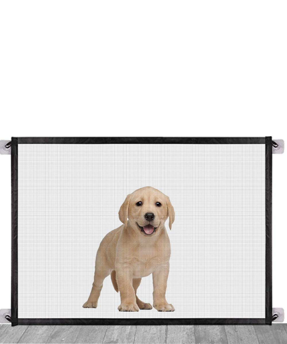 Magic Gate for Dogs,Queenii Pet Safety Guard Gate, Portable Folding Mesh Magic Gate Baby Safety Gates Install Anywhere, Safety Fence for Hall Doorway Wide 41